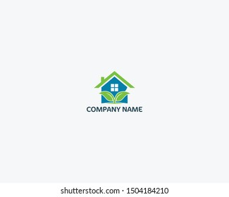 a logo collection of real estate building leaves with a smooth gray background