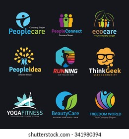 logo collection set. Brad identity for  human people, idea, kids , geek, spa, yoga, healthy, beauty care symbol.