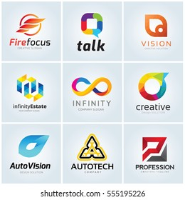 Logo collection set of infinity talk vision automotive profession real estate fire and technology