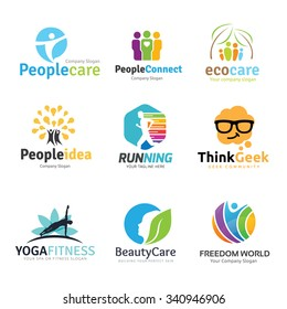 logo collection set people idea kids geek spa yoga human and healthy beauty eco care school brain inspiration education template.