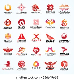 Logo collection set with red color scheme for animal symbols, Phoenix, Eagle, Wolf, Bulls, Horse, Automotive, Creative brand identity.