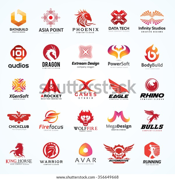 Logo Collection Set Red Color Scheme Stock Vector Royalty Free