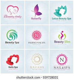 Logo collection of spa beauty women nail salon lotus and body care symbol