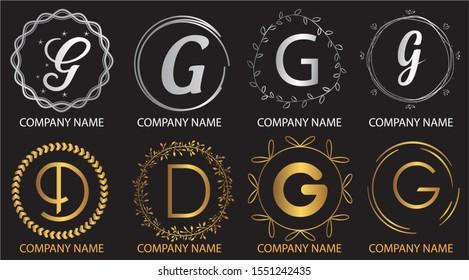 logo collections D. Logo Design Template. Initials logo set