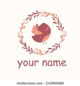 Logo with a colorful cartoon bird in a ring of branches in a flat design. Logo for the brand with a bird.