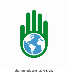 Logo combination of a hand and earth