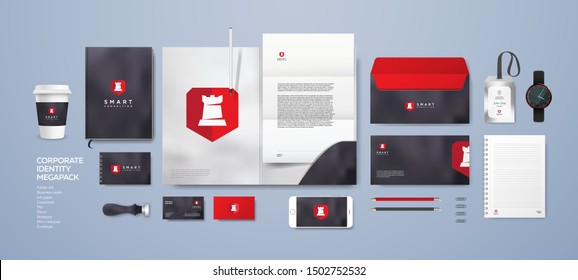 Logo and company style for consulting agency or lawyer. Corporate identity with stone marble background. Stationery mockup design set. White rook castle on red shield. Premium quality.