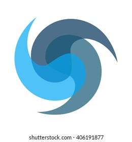 logo  for a company that cleans water. filtering water. three blue  drops on white background. vector illustration
