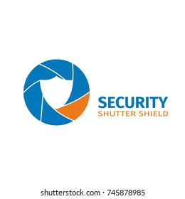 The logo of the company of video surveillance systems. Security camera vector logotype.