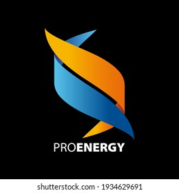 Logo composed of a pair of orange and blue ribbons on a black background symbolizing movement, energy, and lightness.