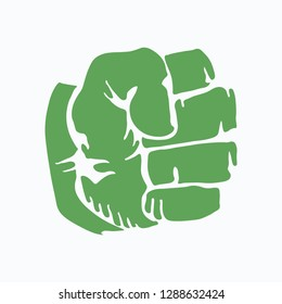Logo of compressed green fist. Hulk icon. Vector illustration. EPS 10.
