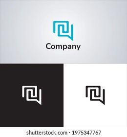 logo with the concept of chat and the letter nu, with a modern and refined look, used for information technology applications, can be used as a sticker or design on clothes