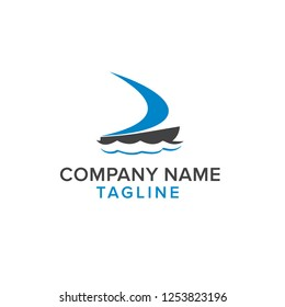 logo concept simple boat and web template