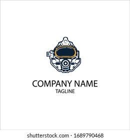 logo construction with diving helmet elements. Can be used for commercial diving companies.