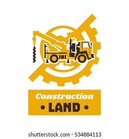 Logo of construction equipment. Globe, earth, gear. Drilling truck. The excavation of land. Vector illustration. Flat style.