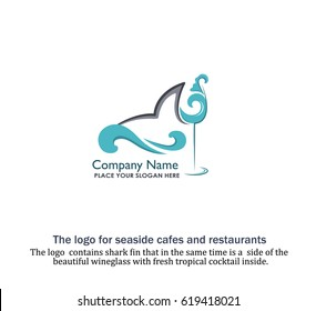 The logo  contains shark fin that in the same time is a  side of the  Beautiful wineglass with fresh tropical cocktail inside. The cocktail is posed on the shape of breeze sea wave. Seafood cafe