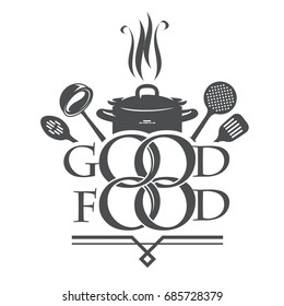 "Logo for cooking. The concept of logos: ""Like to cook a cake"". Vector logo restaurant template.Vector illustration eps 10"