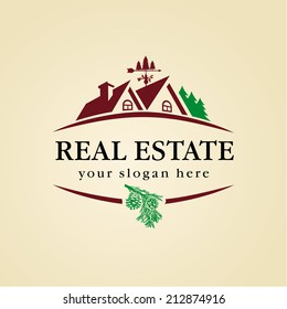 Logo for cottage town or suburban real estate agency. Real estate logo wood. Hacienda vector, home town icon, real estate vector, cottage house logo, home comfort symbol, wood house logo, living roof