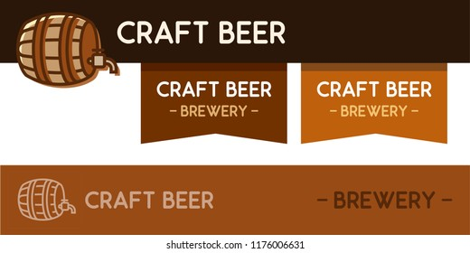 Logo for Craft beer brewery with wooden barrel for beverage. Vector illustration of Logotype with order ribbons and logotype in light colors
