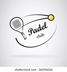 Logo created with strokes forming a racket and a tennis ball. Logo in black and white and yellow ball. Light gray background.