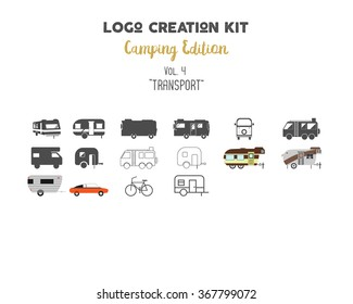 Logo creation kit bundle. Camping Edition set. Transport for travel vector shapes and elements - rv. trailer. Create your own outdoor label, wilderness retro patch, adventure badges, hiking stamps.