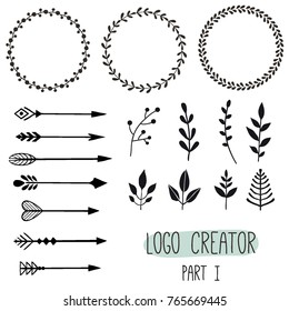 Logo creator. Vintage hipster logo elements with arrows, plants, badges. Hand drawn elements template constructor for brand identity and logo design.