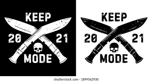 logo with crossed knives and skull.  White and black version. All elements can be separated.