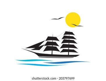 Logo cruise, the ship on waves and couple of birds against the sun.