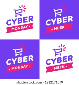 Logo for cyber monday offer. Label for promotion event. Marketing action cyber sale. Vector. Cyber week.