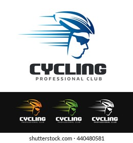 Logo of a cyclist with helmet and sunglasses. This logo is suitable for many purpose as cycling club, cycling events, cycling equipment, competition cyclist and more.