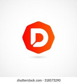 Logo D letter. Isolated on white background. Vector illustration, eps 10.
