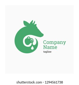 Logo for dairy company. Vector illustration cow and jug of milk. Label for natural farm products. Sign for agricultural company. Green icon with cow. Agro company logo