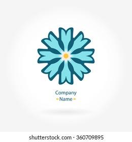Logo daisy. Stylized flower logo. Simple logo. The circular logo. The brand name, emblem, logo. Brand. Color logo. Beautiful circular logos. Logo for boutique, interior. Simple geometric logo. Mandala