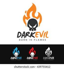 Logo of a dark skull on fire. This logo is suitable for many purpose as motorcycle garage, music band, badges and more.