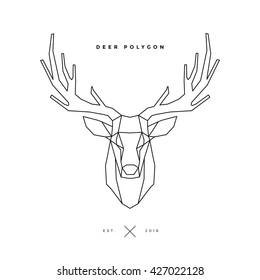 logo of deer frame head, polygon illustration
