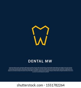 Logo Dental letter M and W design template vector. Concept logo for dental clinic with letter MW or WM