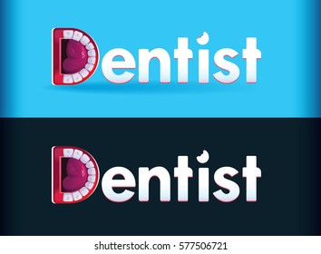 Logo Dentist. Dental logo. Healthy Clean Teeth. Letter D in the form of Mouth. Bitten Text. Vector.ENT.Screaming mouth.Doctor. Stylization of letter D. Cry.Vector.Smile Happy logo