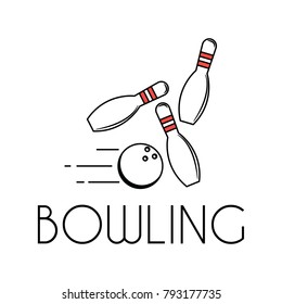 The logo depicts a bowling ball bowling down.