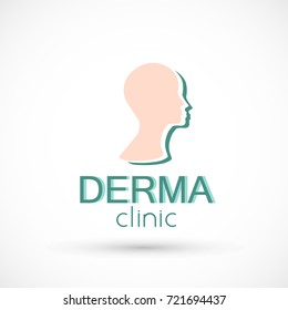 Logo dermatology skin medical or cosmetology clinic