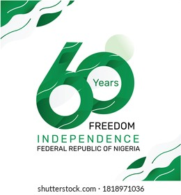 Logo design 60th the National Day of Nigeria,happy independence day Republic Federation of Nigeria