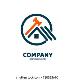 Logo design abstract building repair vector template. Illustration design of logotype business hammer symbol. Vector web work tool and house icon.