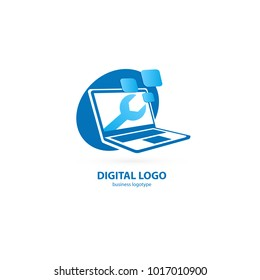 Logo design abstract computer repair vector template. Illustration design of logotype business desktop software. Vector computer web icon.