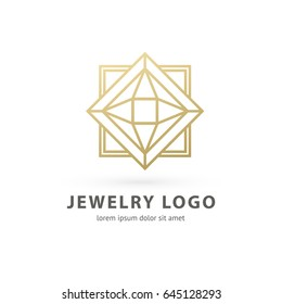 Logo design abstract diamond vector template. Illustration design of logotype business luxury jewelry symbol. Vector diamond accessories line web icon.