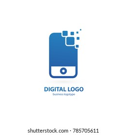 Logo design abstract digital technology vector template. Illustration design of logotype business web marketing. Vector mobile app web icon.