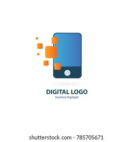 Logo design abstract digital technology vector template. Illustration design of logotype business web marketing. Vector mobile app web icon.