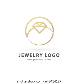 Logo design abstract engagement vector template. Illustration design of logotype business luxury jewelry symbol. Vector diamond ring line web icon.