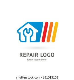 Logo design abstract home repair vector template. Illustration design of logotype business Building construction symbol. Vector web work tool and house icon.