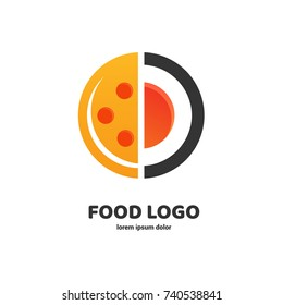 Logo design abstract italian food vector template. Illustration design of logotype pizza symbol. Vector pizza and sushi sign.