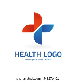 Logo design abstract medical vector template. Illustration design of logotype cross health symbol