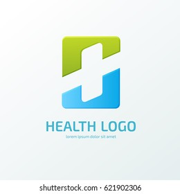 Logo design abstract medical vector template. Illustration design of logotype cross health symbol colorful.